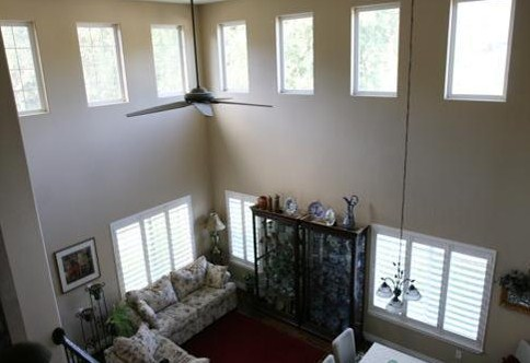 two story living space with clerestory windows