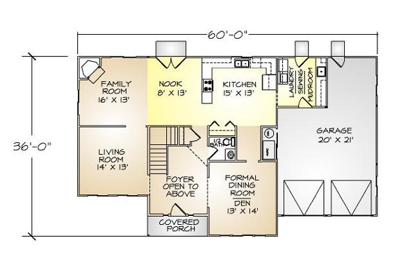 PMHI Scottsdale first floor plan with two story living room and open kitchen and family room