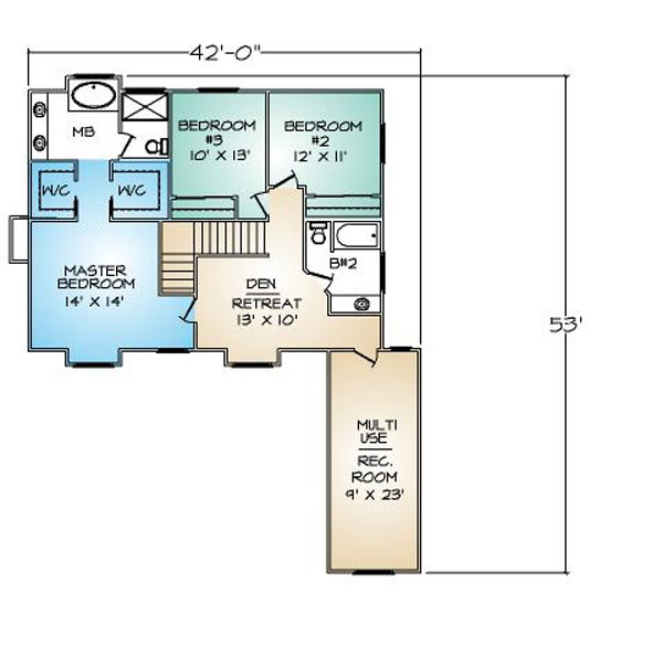 PMHI Manchester second floor plan with 3 bedrooms, retreat and bonus room