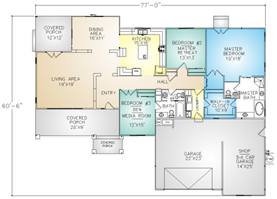 PMHI Brentwood home floor plan with  open space, covered porch, 3 car garage