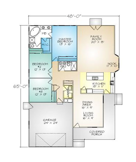 PMHI New Haven floor plan with large covered porch and open floor plan