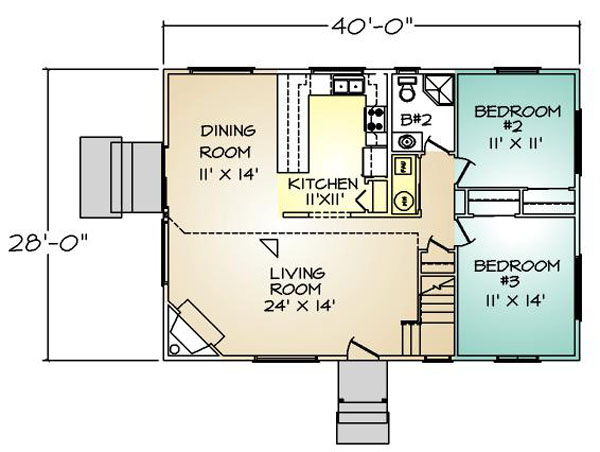 PMHI Auburn Chalet first floor plan with vaulted ceiling and bedrooms on ground floor