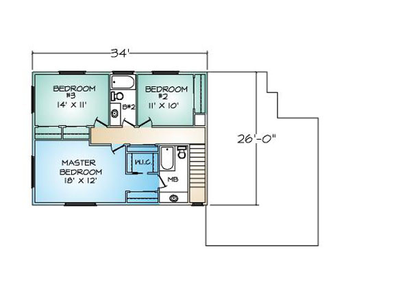 PMHI Woodbridge second floor plan with 3 bedrooms