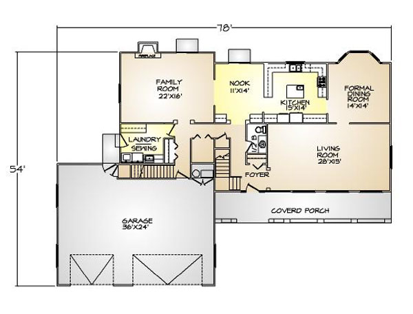 PMHI El Dorado first floor plan with open space, large covered porch and 3 car garage
