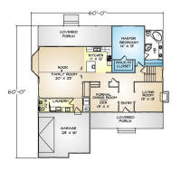 PMHI Rockport first floor plan with master suite on ground floor and large covered porch