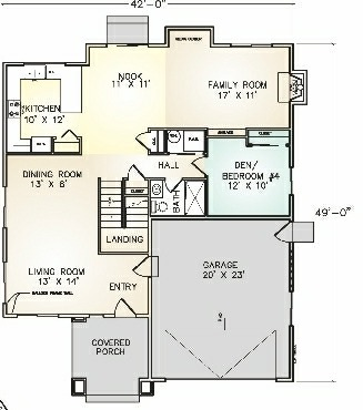 PMHI Emeral first floor plan with two story entry living room and ground floor bedroom